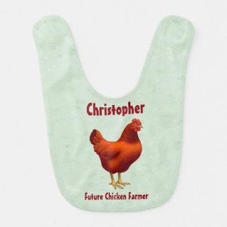 Bavoir Future poule de rouge d'agriculteur de poulet