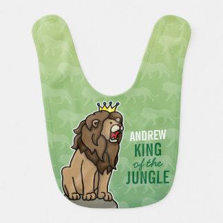 Bavoir Le roi de lion de la jungle, ajoutent le nom de