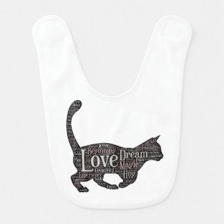 Bavoir mignon et inspiré de bébé avec le chat noir