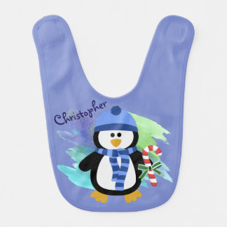 Bavoir Noël bleu de pingouin