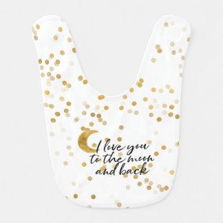 Bavoir Or je t'aime aux confettis de lune