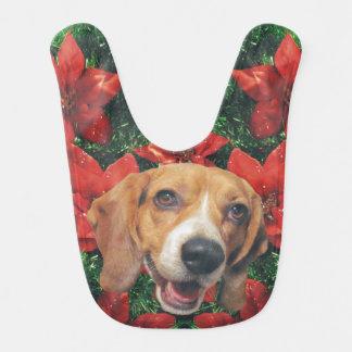 Bavoir Poinsettias de Noël et beagle de fête de guirlande