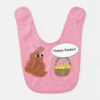 Bavoir Poussins Joyeuses Pâques de lapin et de bébé