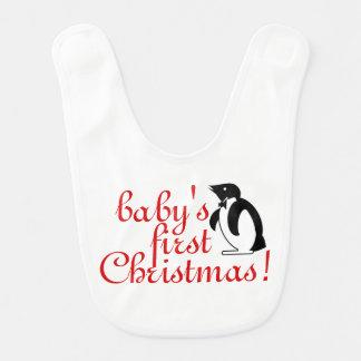 Bavoir Premier Noël du bébé - art de pingouin