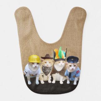 Bavoir Quatre chats/minous drôles de village