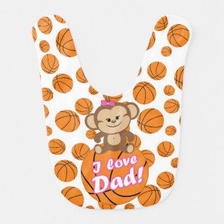 Bavoir rose de basket-ball de papa d'amour du sing