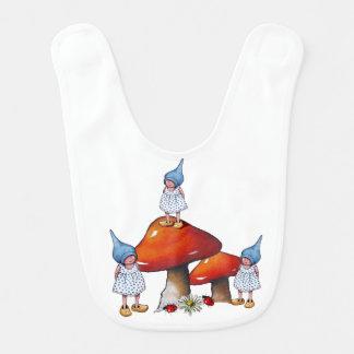 Bavoir Trois gnomes de fille : Triplets ou soeurs,