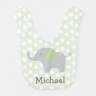 Bavoir vert de bébé d'éléphant