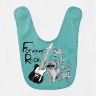 """Bavoir vert """"Forever Rock"""", chaton, guitare"""
