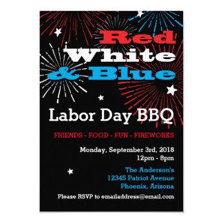 BBQ blanc et bleu rouge de Fête du travail Carton D'invitation 12,7 Cm X 17,78 Cm