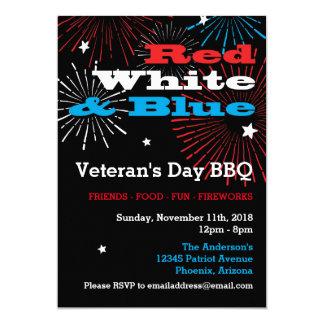 BBQ blanc et bleu rouge de jour de vétérans Carton D'invitation 12,7 Cm X 17,78 Cm