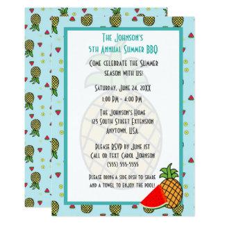 BBQ d'été de motif d'ananas et de pastèque Carton D'invitation 12,7 Cm X 17,78 Cm
