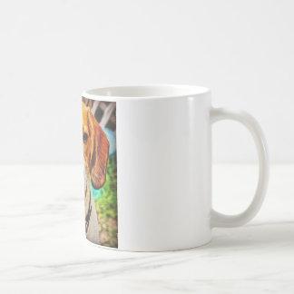 Beagle en huile mug blanc