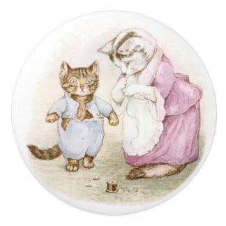 Beatrix Potter, bouton en céramique de chaton de