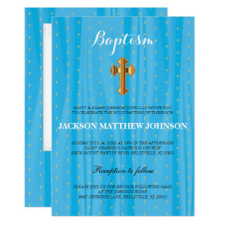 Beau baptême de satin/baptême bleus et blancs carton d'invitation  12,7 cm x 17,78 cm