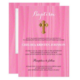 Beau baptême de satin/baptême roses et blancs carton d'invitation  12,7 cm x 17,78 cm