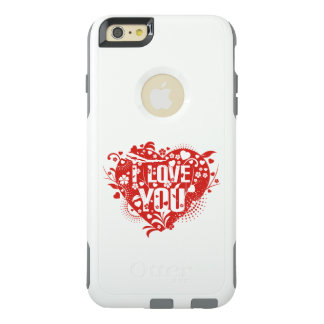 Beau bel je t'aime art rouge de vecteur de coeurs coque OtterBox iPhone 6 et 6s plus