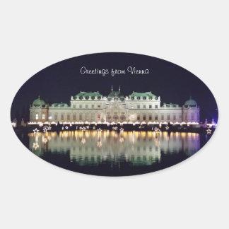 Beau belvédère de Vienne en décembre Sticker Ovale
