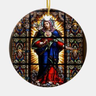 Beau coeur sacré religieux de Vierge Marie Ornement Rond En Céramique