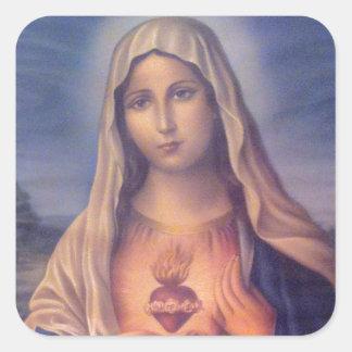Beau coeur sacré religieux de Vierge Marie Sticker Carré