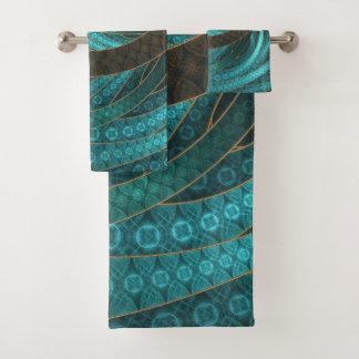 Beau cuir et bijoux bleus de fractale de turquoise