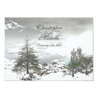 Beau faire-part de mariage de montagne d'hiver