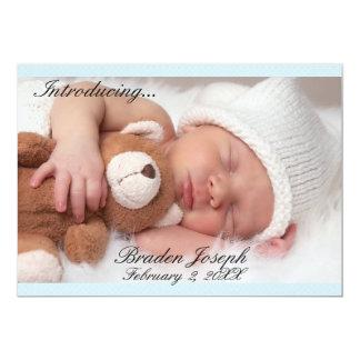 Beau faire-part de naissance nouveau-né bleu de