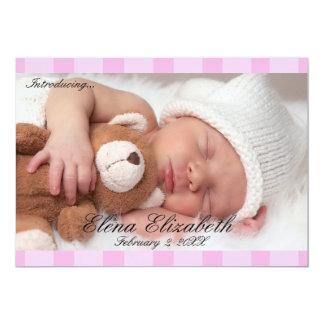 Beau faire-part nouveau-né rose de fille