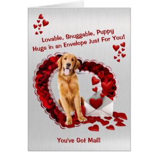 Beau golden retriever - vous avez le courrier ! carte de vœux