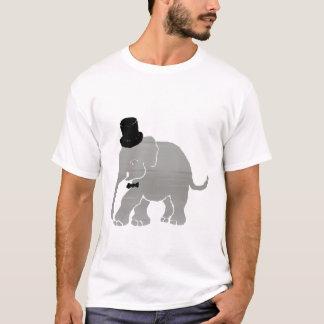 Beau marié vintage d'éléphant avec le cylindre t-shirt