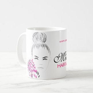 Beau marquage à chaud d'illustration de mode de mug blanc
