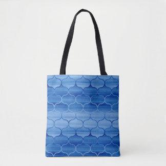 Beau motif bleu d'Ogee d'aquarelle Sac