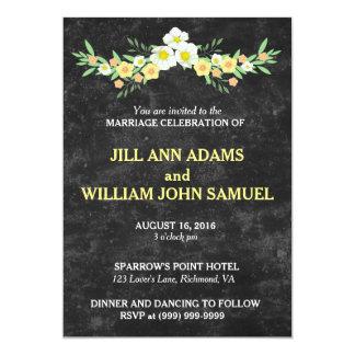 Beau noir avec le mariage floral orange et vert carton d'invitation  12,7 cm x 17,78 cm