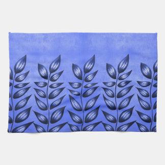 Beau plante décoratif avec le feuille pointu bleu serviette éponge