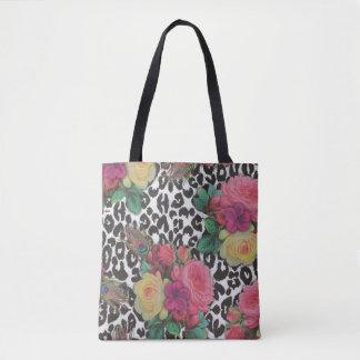 beau sac fourre-tout coloré à guépard de fleur