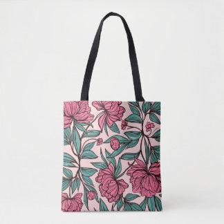 Beau sac fourre-tout floral rose tiré par la main