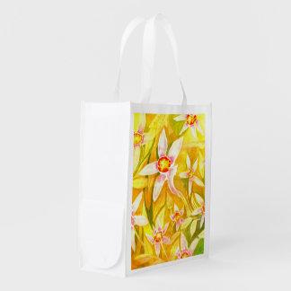 Beau sac réutilisable floral pour aquarelle d'Eco Sac Réutilisable D'épcierie