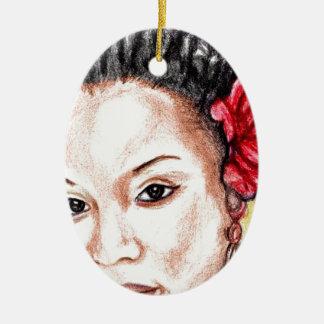 Beauté d'Afro-américain Ornement Ovale En Céramique