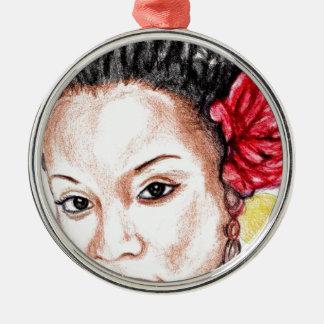 Beauté d'Afro-américain Ornement Rond Argenté