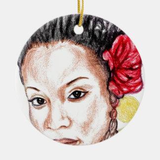 Beauté d'Afro-américain Ornement Rond En Céramique