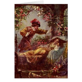 Beauté de sommeil et carte de voeux de prince