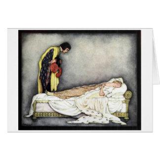 Beauté de sommeil et le prince, carte de voeux