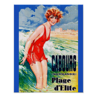 Beauté se baignante française vintage circa la poster
