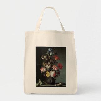Beaux-arts floraux avec des iris de tulipes de sac en toile épicerie