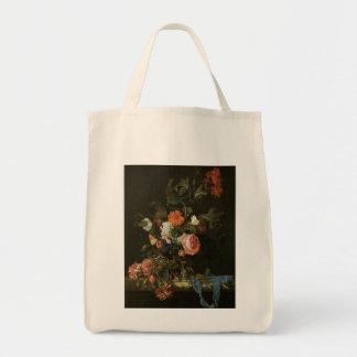 Beaux-arts floraux avec des roses sac en toile épicerie