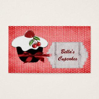 beaux cartes de visite rouges de petit gâteau