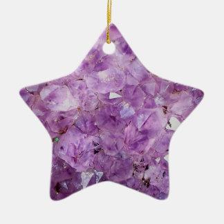 beaux cristaux d'améthyste, photographie ornement étoile en céramique
