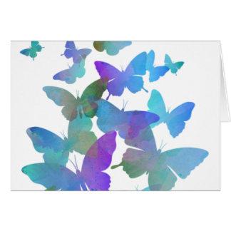 Beaux papillons bleus carte de vœux