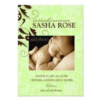 bébé 311-Damask/fille Carton D'invitation 12,7 Cm X 17,78 Cm