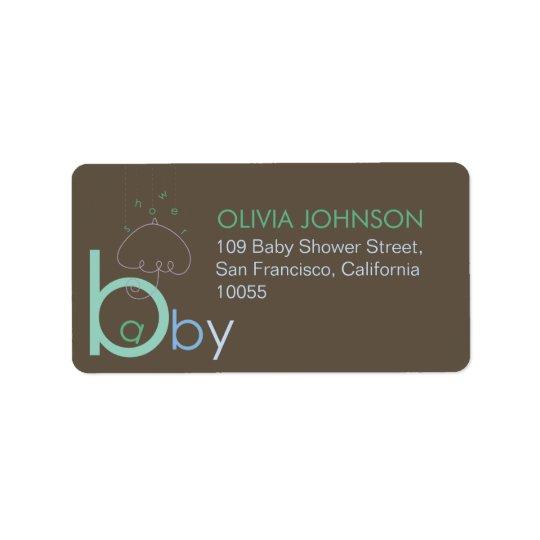 """Bébé """"a"""" dans les étiquettes mignons bleus de baby"""